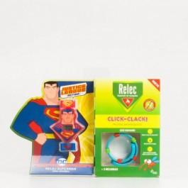 OMEGA PHARMA RELEC CLICK CLACK PULSERA ANTIMOSQUITOS MUÑECO SUPERMAN